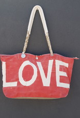 ALI LAMU LARGE WEEKEND BAG RED CREAM LOVE