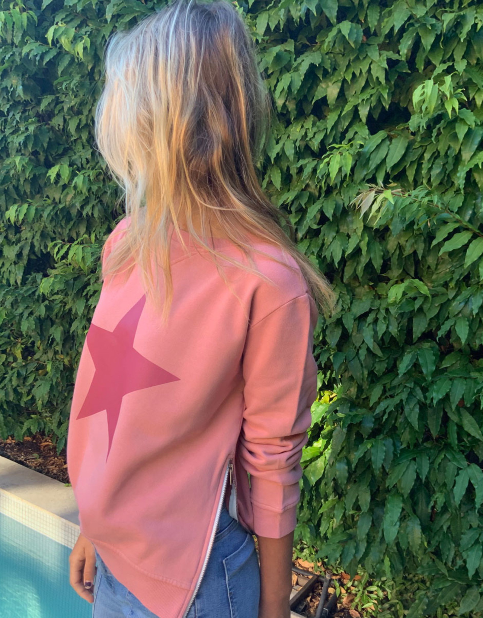 SOPHIE MORAN ZIP STAR SWEATSHIRT PLUM & PLUM STAR