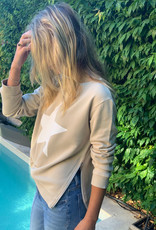 SOPHIE MORAN ZIP STAR SWEATSHIRT TAN & WHITE