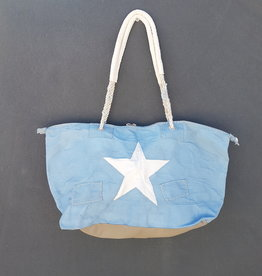 ALI LAMU LARGE WEEKEND BAG PALE BLUE WHITE STAR