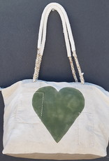 ALI LAMU LARGE WEEKEND BAG CREAM KHAKI HEART