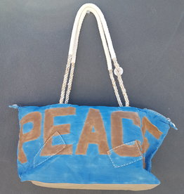 ALI LAMU LARGE WEEKEND BAG COBALT BLUE BROWN PEACE