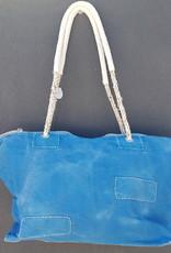 ALI LAMU LARGE WEEKEND BAG COBALT BLUE BROWN PEACE