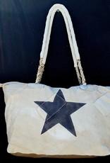 ALI LAMU LARGE WEEKEND BAG CREAM CHARCOAL STAR