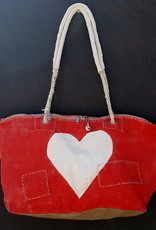ALI LAMU LARGE WEEKEND BAG RED CREAM HEART