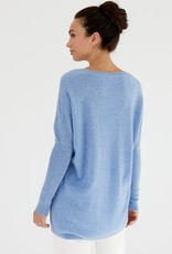 MIA FRATINO V NECK BOYFRIEND SWEATER VINTAGE BLUE