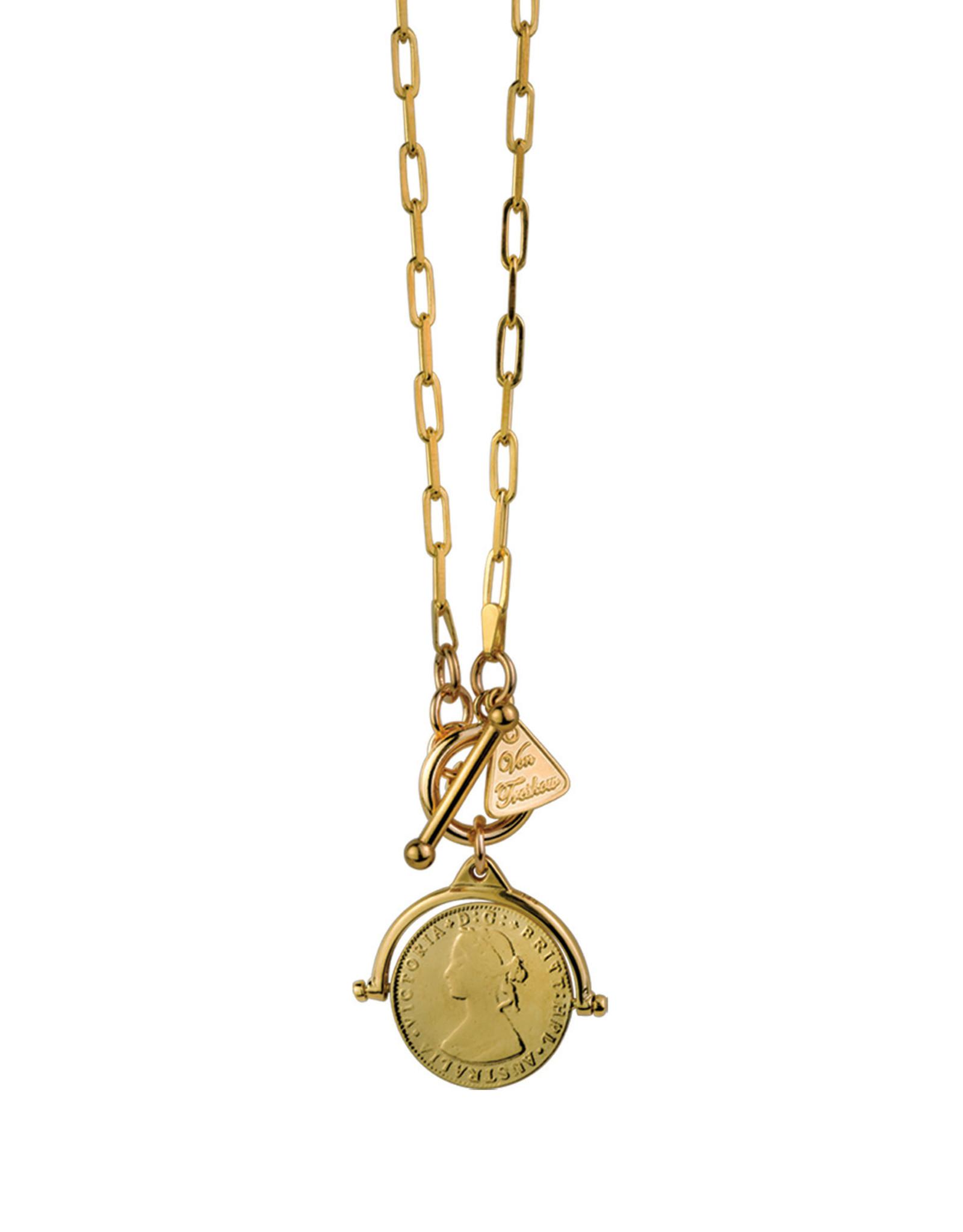 VON TRESKOW COIN FLIP NECKLACE WITH CLIP CHAIN GOLD