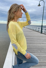 SOPHIE MORAN CASHMERE ARM PATCH YELLOW GREY MARLE