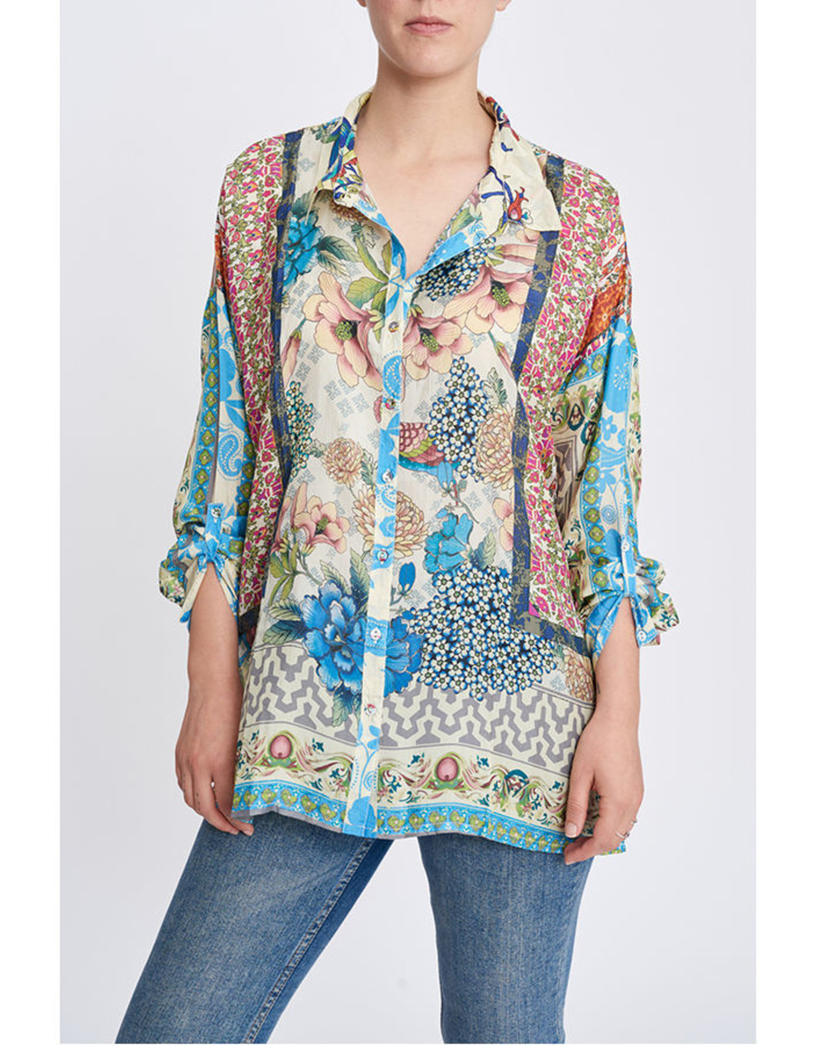 JOHNNY WAS  BAYHILL BUTTON BLOUSE