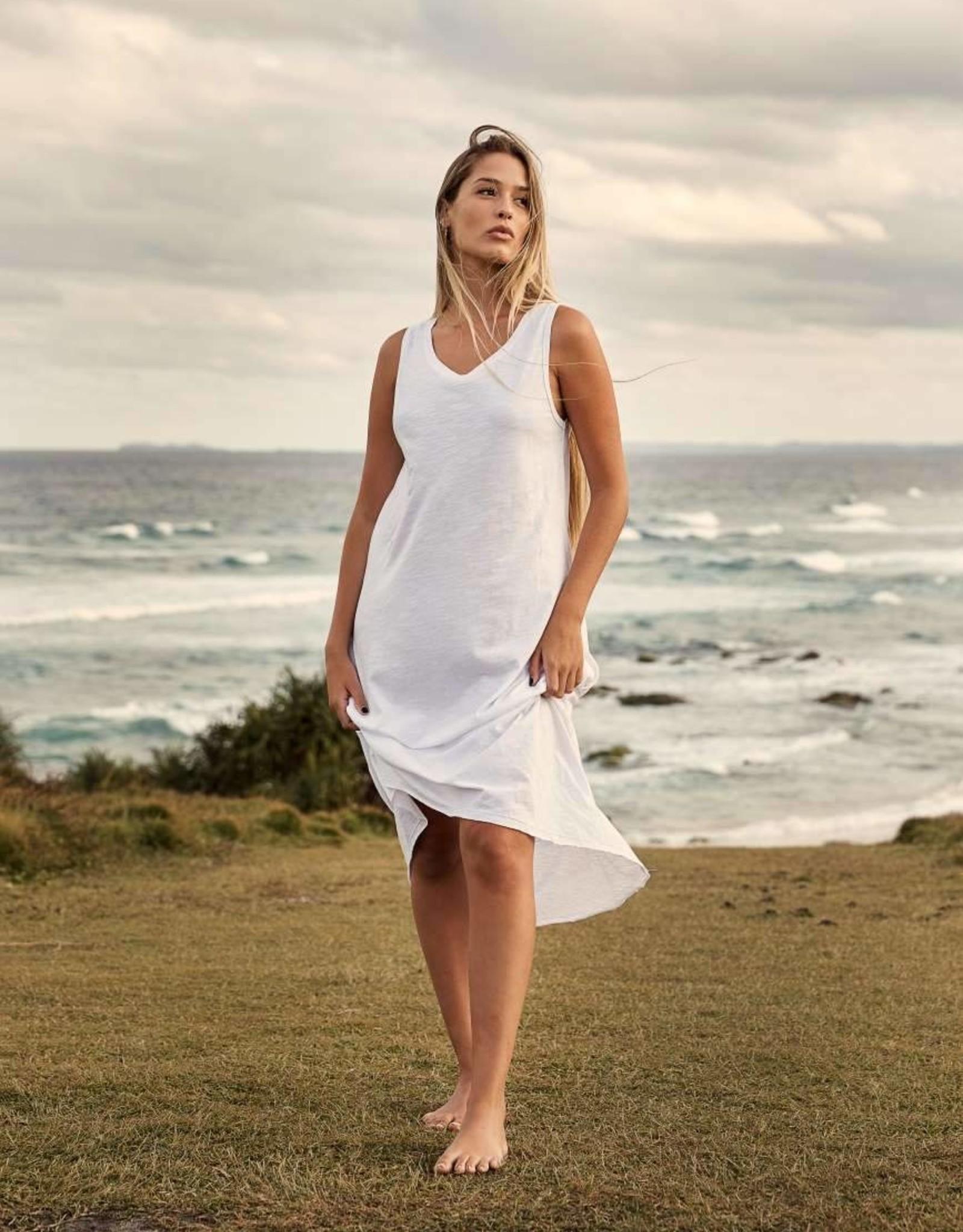 TALAMAYA SHORELINE FINE SLUB BREEZE DRESS WHITE