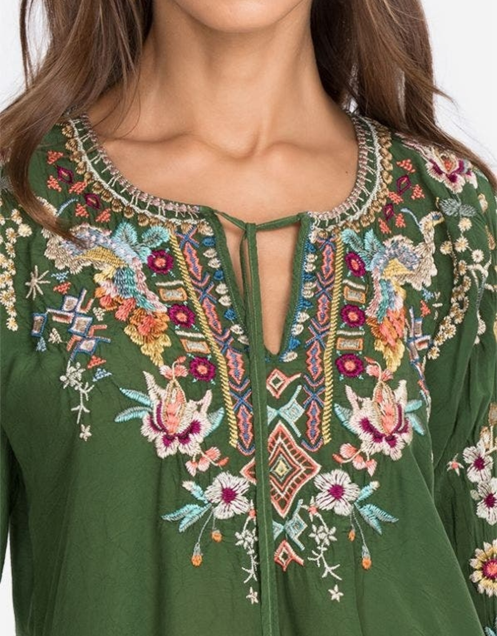JOHNNY WAS SUNFLOWER BLOUSE CACTUS