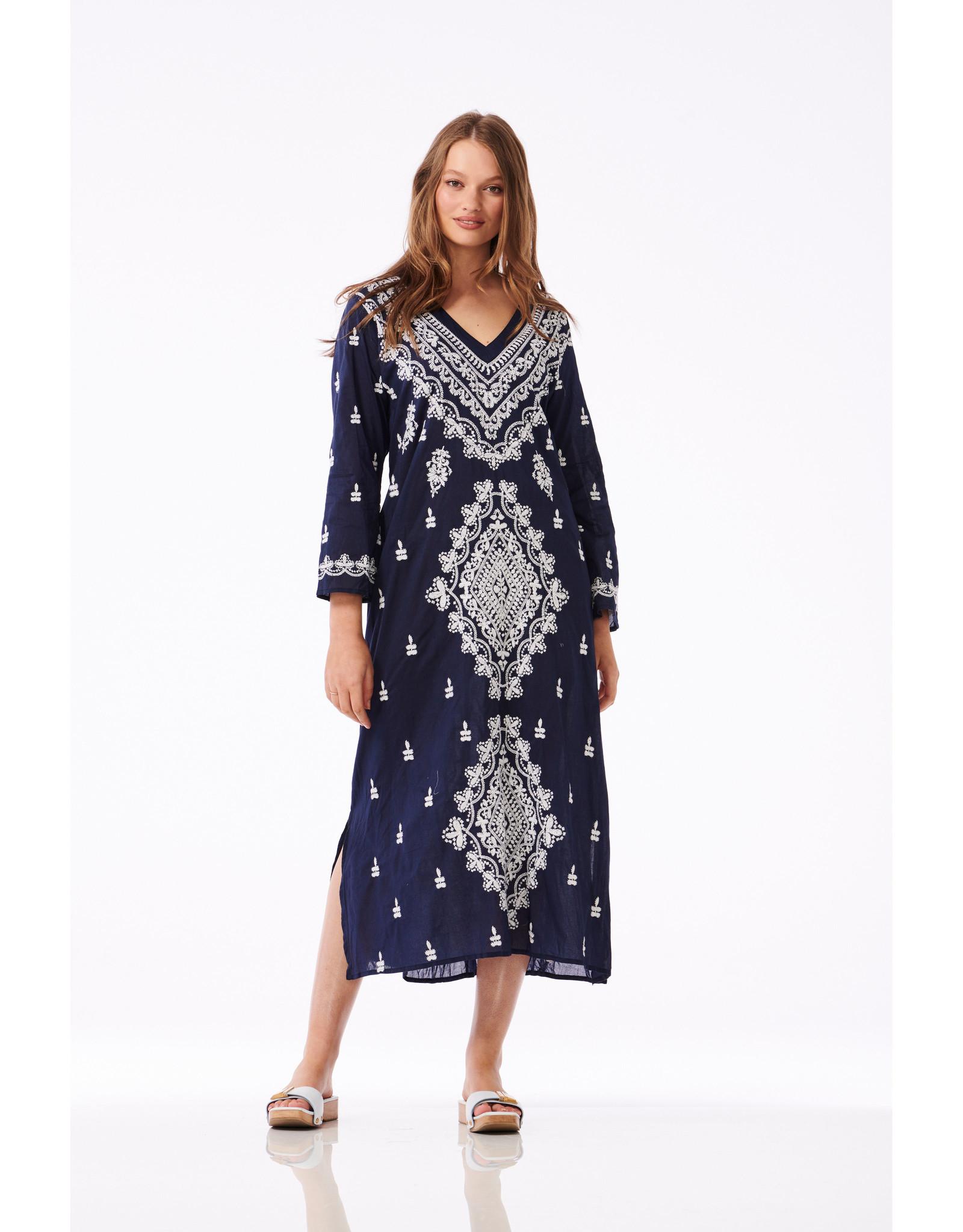 ONESEASON LONG GOA DRESS NAVY WHITE