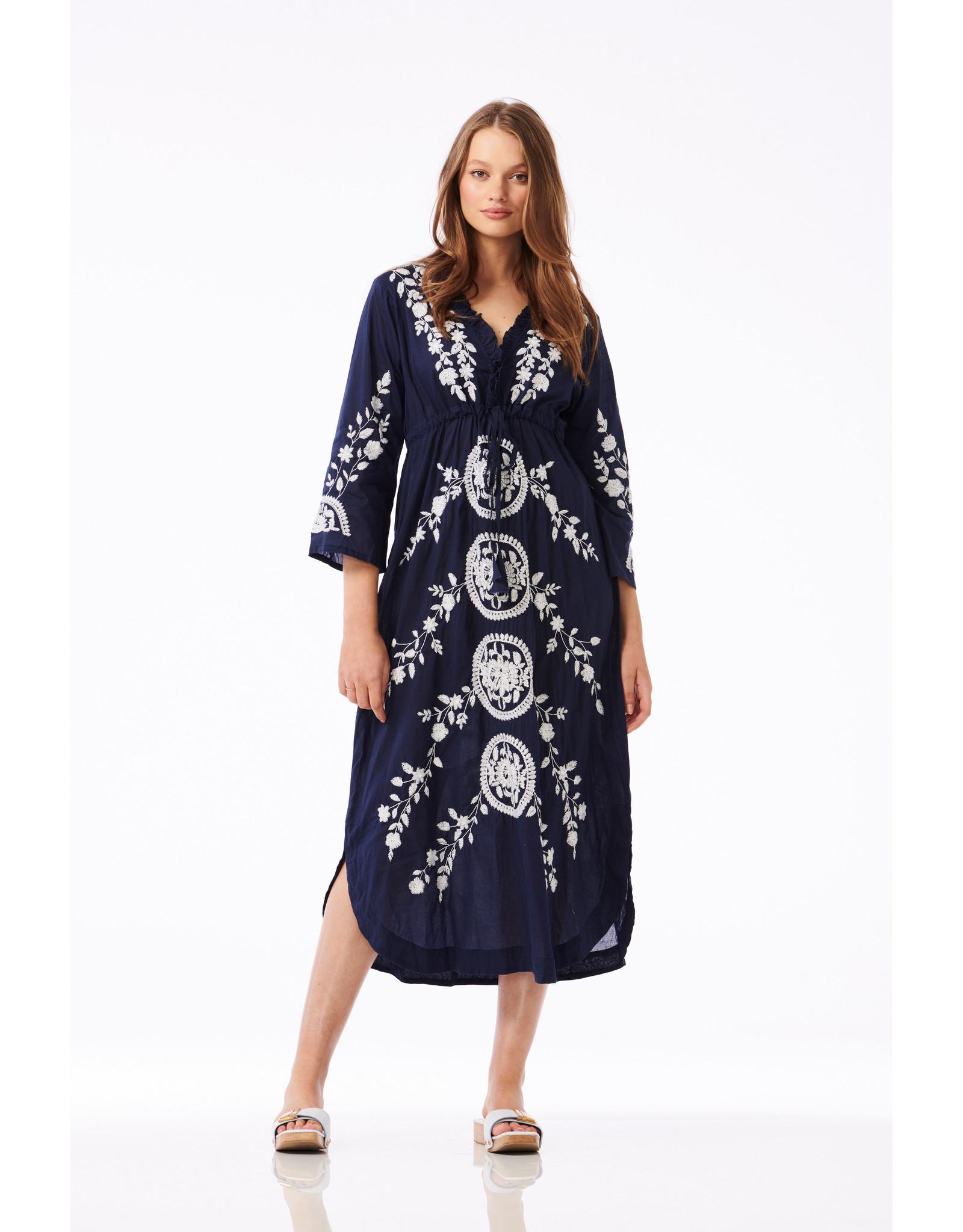 ONESEASON LONG BYRON DRESS NAVY WHITE