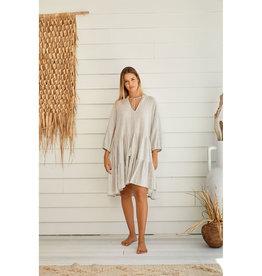 TALAMAYA CASTAWAY COTTON BEACH DRESS SILVER