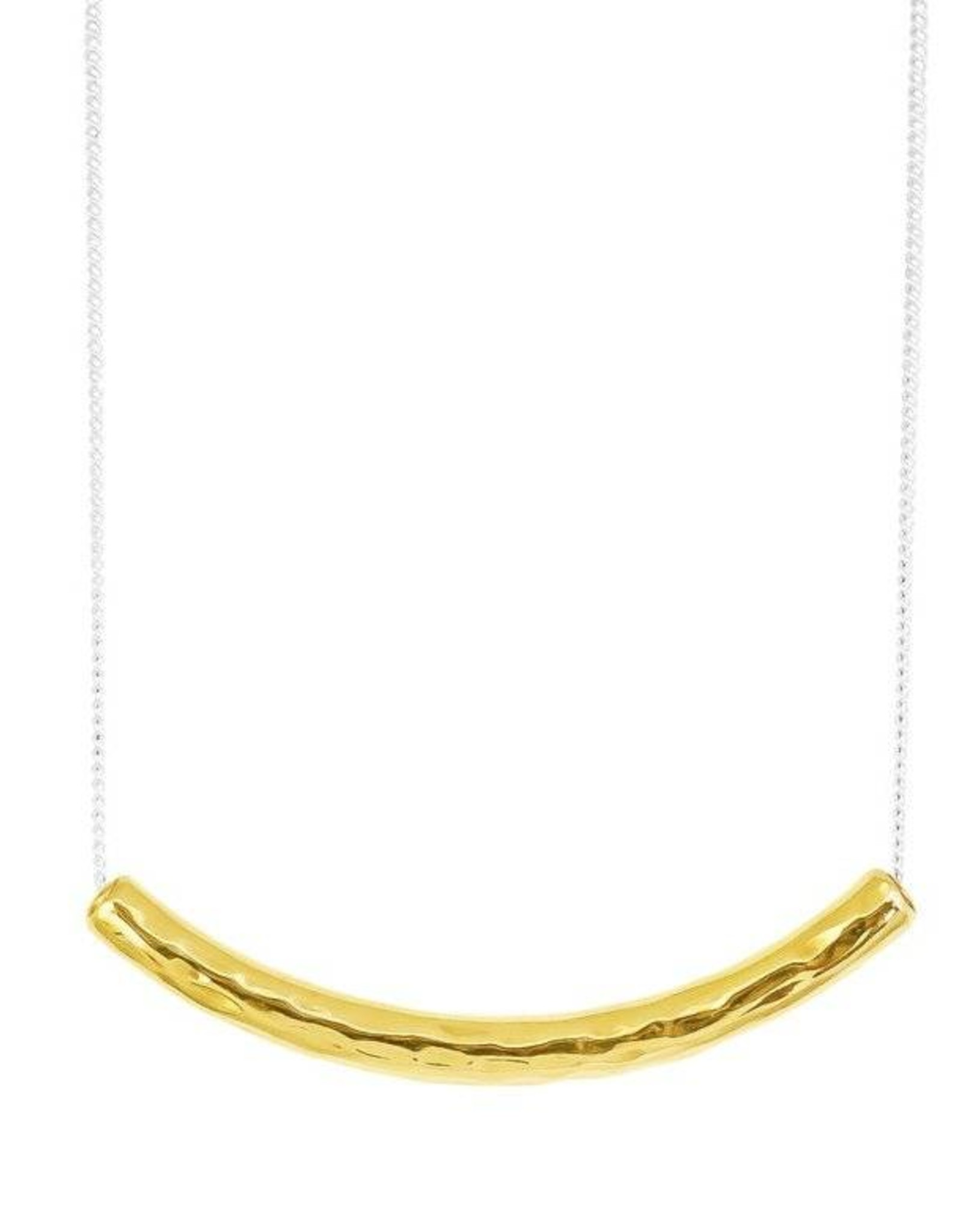 HUSK MEDIUM HAMMERED BAR NECKLACE - SHORT / GOLD BAR