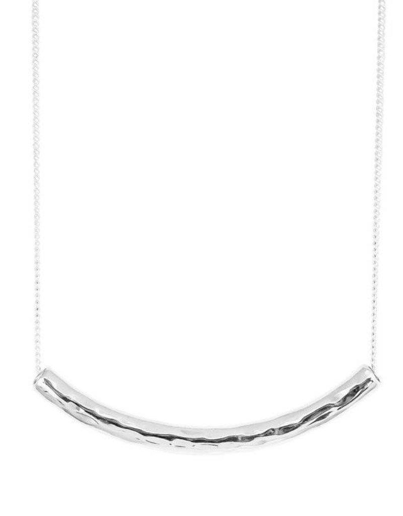 HUSK MEDIUM HAMMERED BAR NECKLACE - SHORT / SILVER BAR