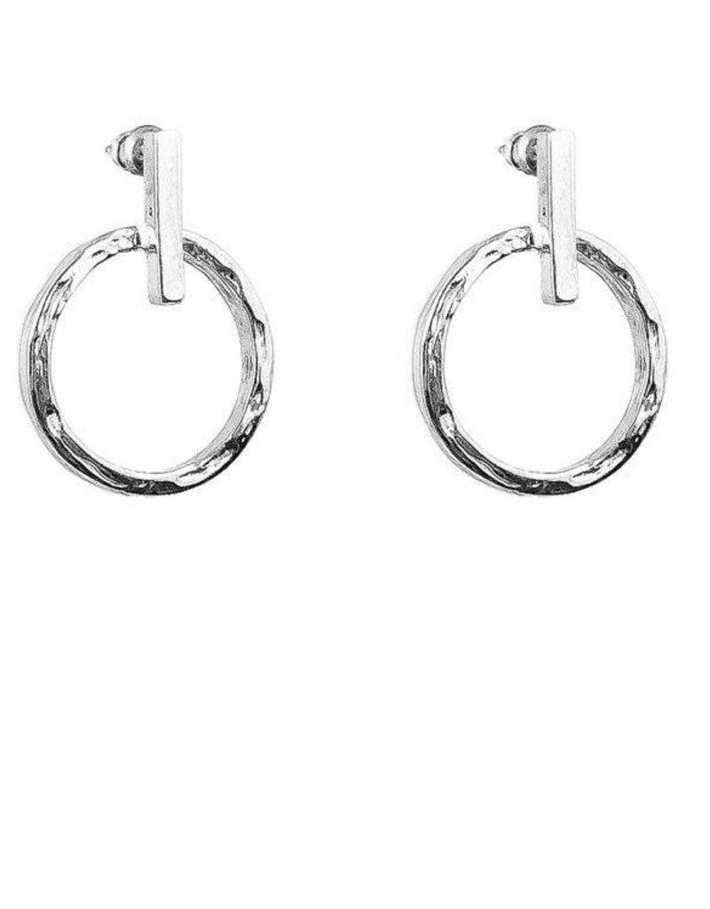 SMALL HAMMERED RING & POLISHED BAR EARRINGS / SILVER