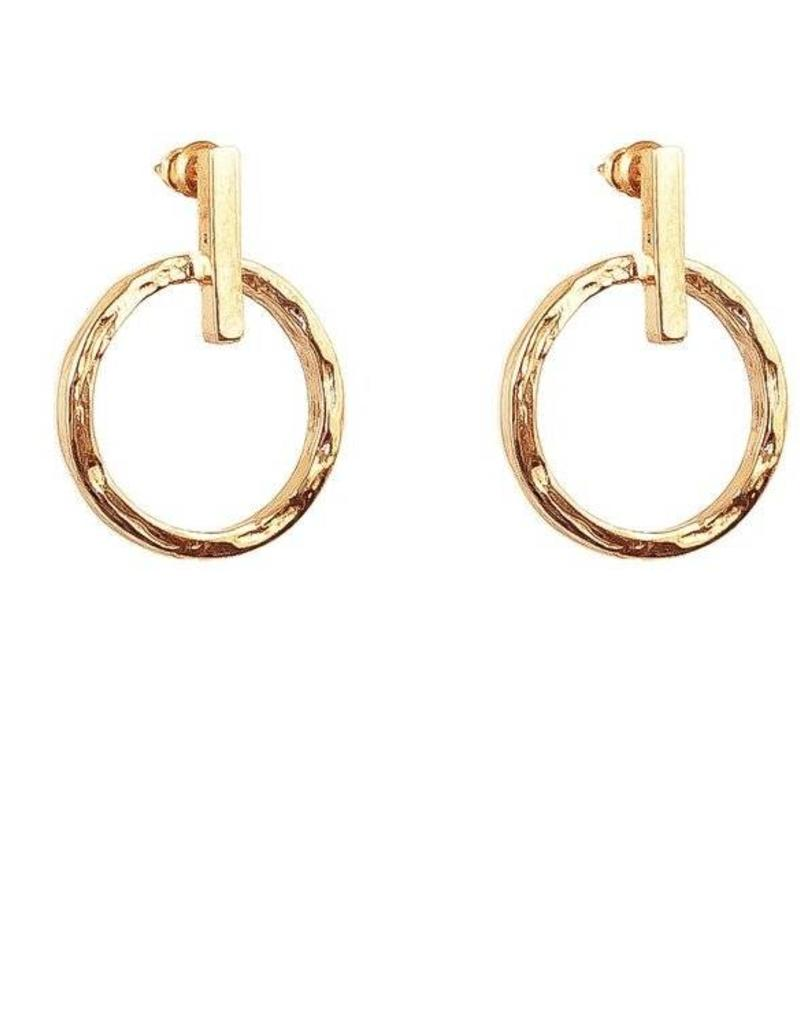 ZOE SMALL HAMMERED RING & POLISHED BAR EARRINGS / ROSE