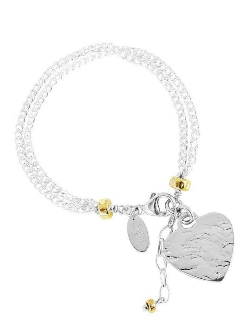 EMILIE DOUBLE CHAIN BRACELET W HAMMERED HEART/SILVER & GOLD