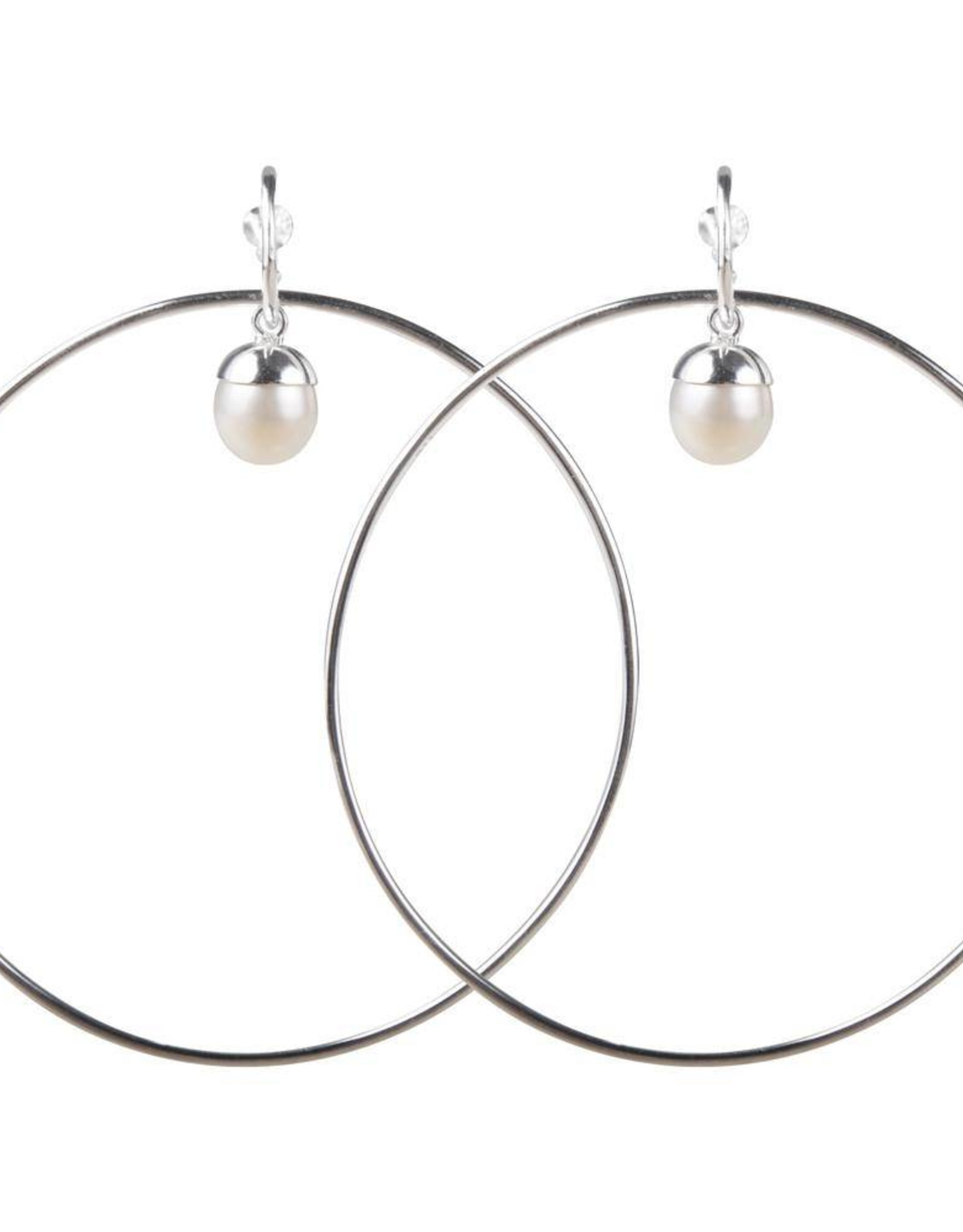 PEARL HULA EARRINGS SILVER