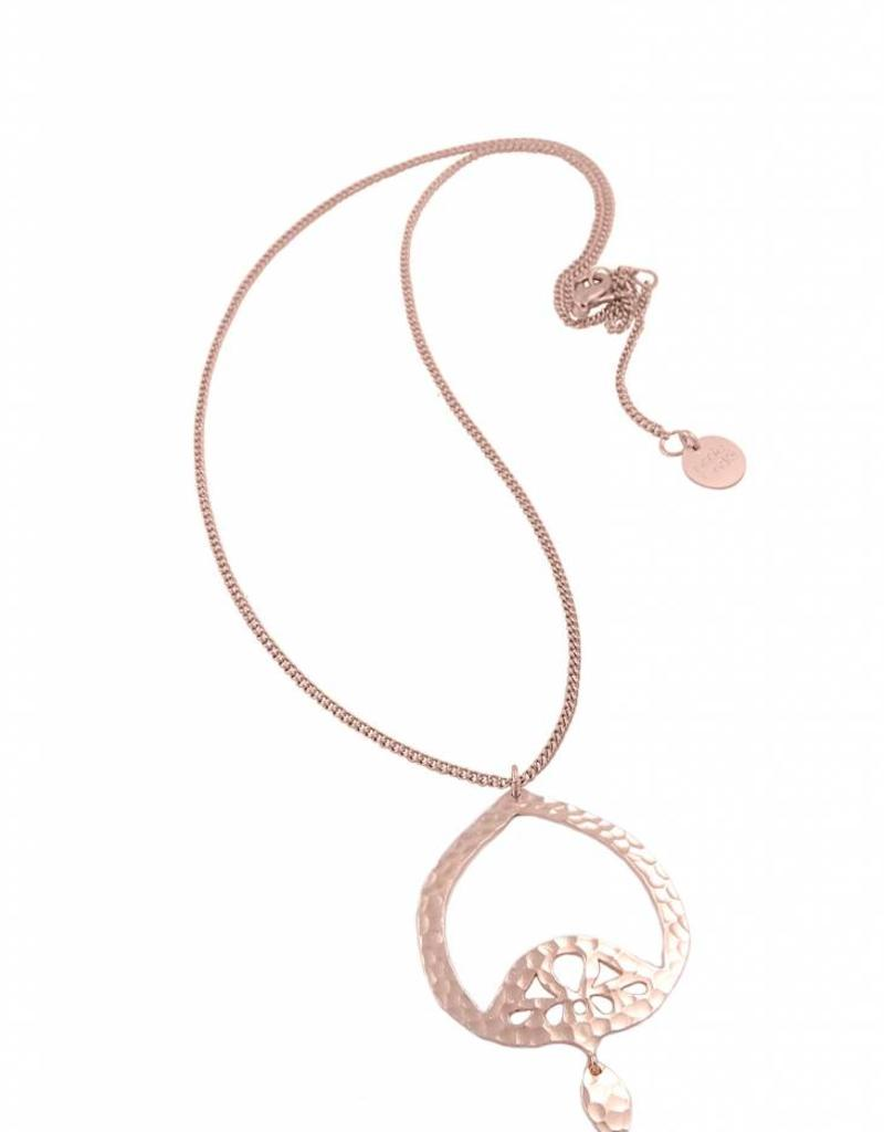 DOMINIQUE STATEMENT LONG PENDANT ROSE GOLD