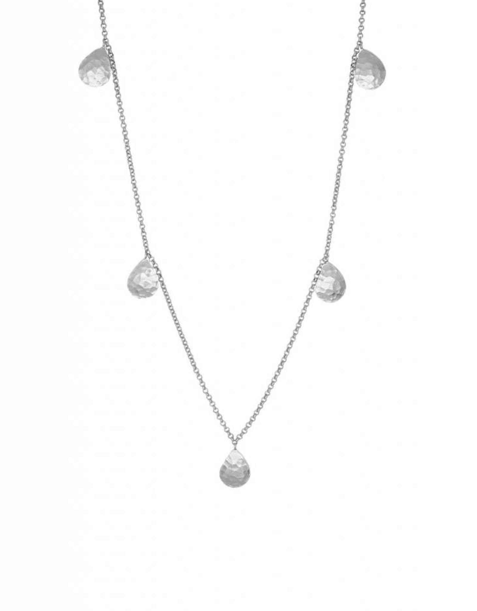TALIA LONG TEAR DROP NECKLACE SILVER