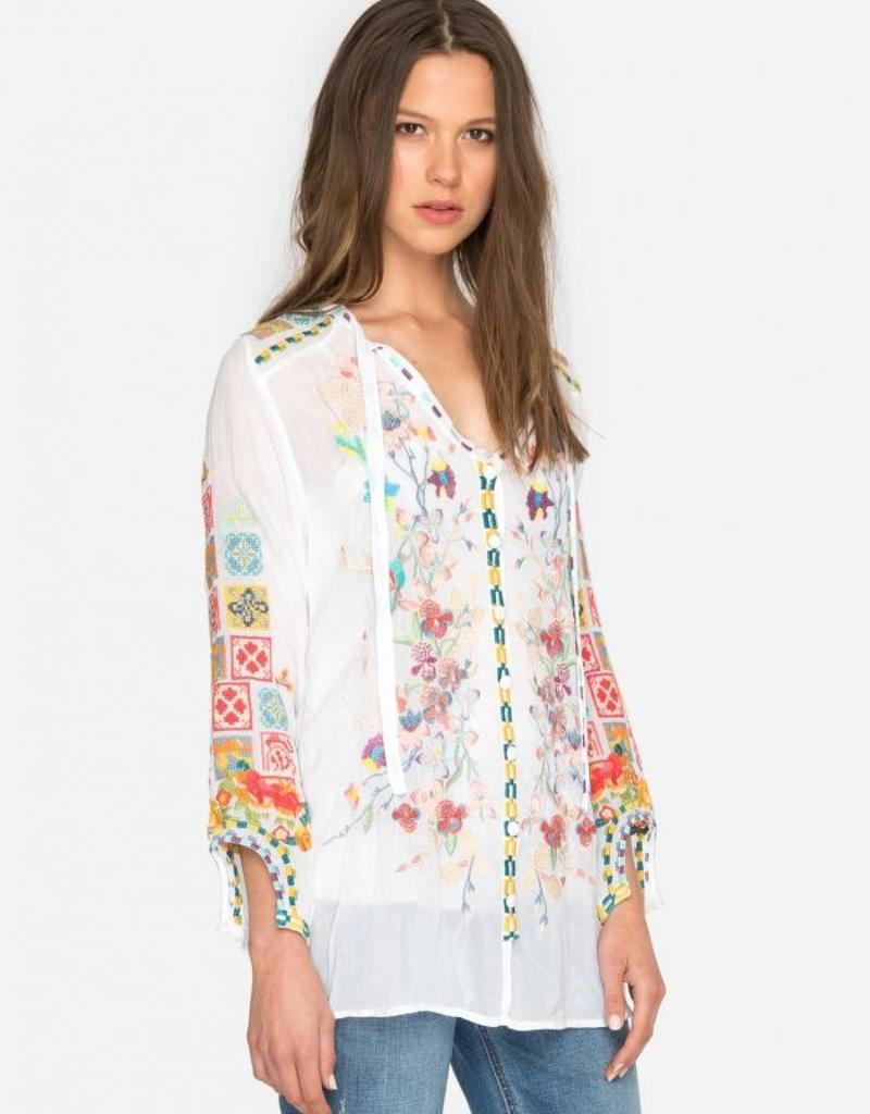 SALE - JOHNNY WAS NIKOLITA BLOUSE WHITE
