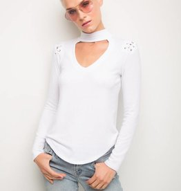 GENERATION LOVE JOJO CHOKER LONG SLEEVE TOP WHITE