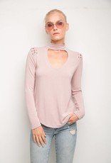 GENERATION LOVE JOJO CHOKER LONG SLEEVE TOP OLD ROSE
