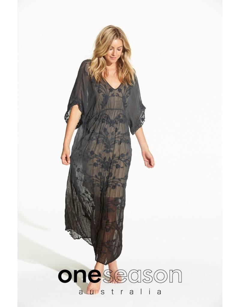 ONESEASON FLOATY DRESS  VISCOSE GEORGETTE BLACK