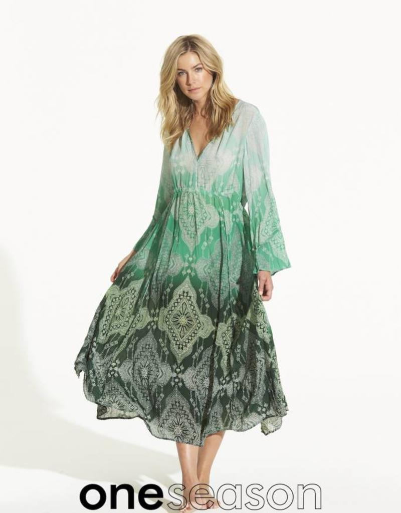 ONESEASON BECCA DRESS TAJ EMERALD VISCOSE