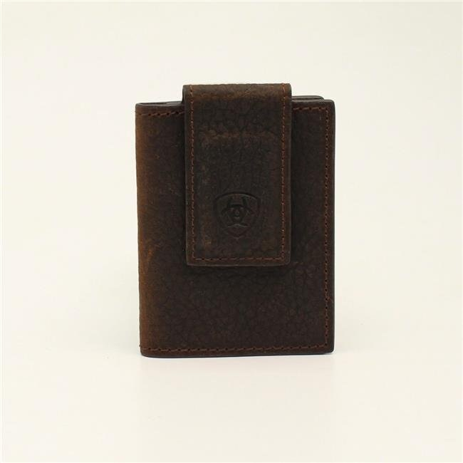 Ariat Brown Rowdy Leather Bifold Wallet w/ Magnetic Money Clip A3543802