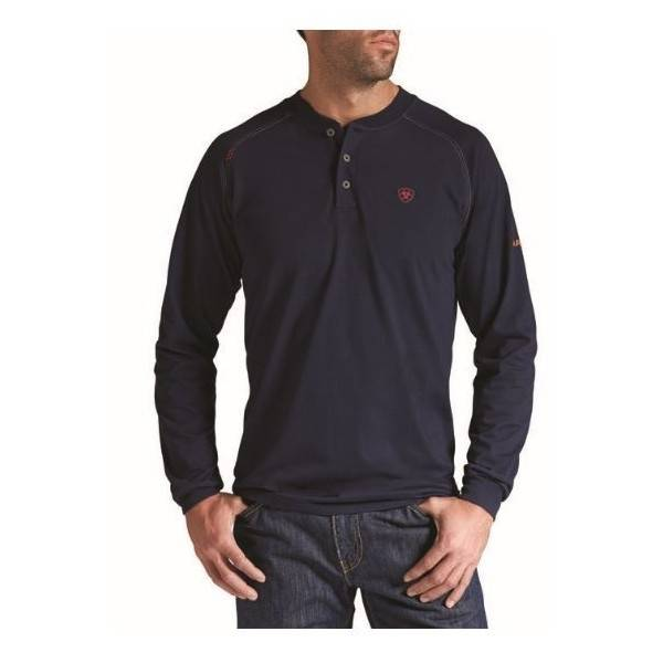 ARIAT FR WORK HENLEY LS NAVY 10013518