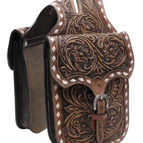 SHOWMAN FLORAL TOOLED LEATHER HORNBAG W/BUCK STITCH HB-06