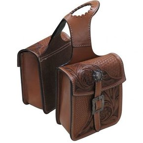 SHOWMAN LEATHER HORN BAG W/FLORAL 176333
