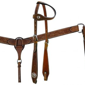 SHOWMAN FLORAL TOOLED LEATHER ONE EAR HS/BC SET 7148