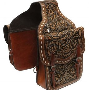 SHOWMAN TOOLED LEATHER SADDLE BAG SB-58