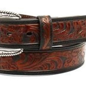 "Ariat Boots ARIAT MEN'S 1/2"" EMBOSS BLK/TAN BELT A1029267"