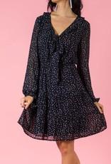 Dress with Ruffled V Neck Small