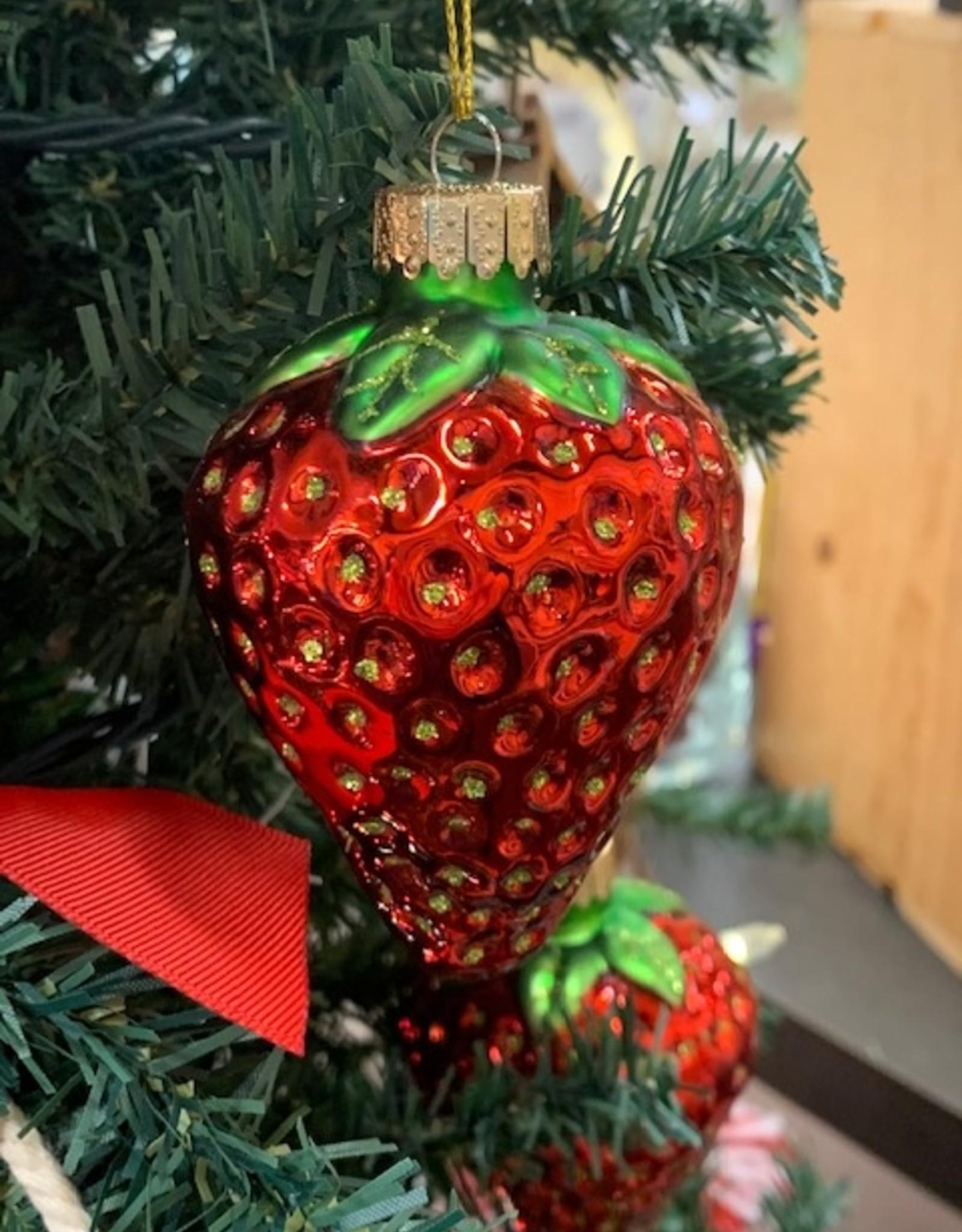 Strawberry Glass Ornament