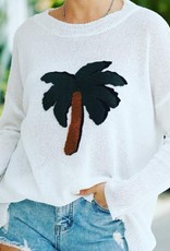 Lily Clothing White Tropical Lightweight Sweater-Palm Tree