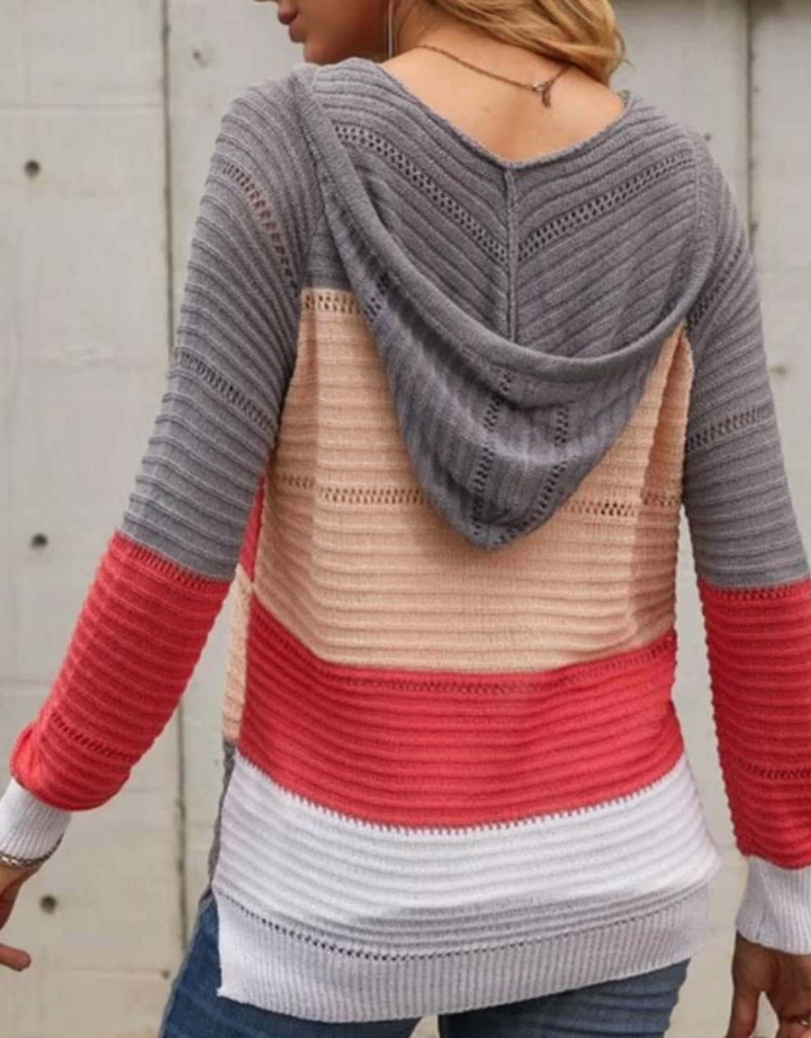 Lily Clothing Lightweight drawstring sweater jacket stripe