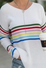 Lily Clothing Rainbow Stripe Lightweight Sweater