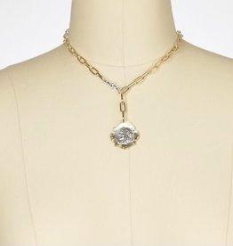"""Julio Designs Julio-Shield, paperclip chain neck, layered coin -18"""""""