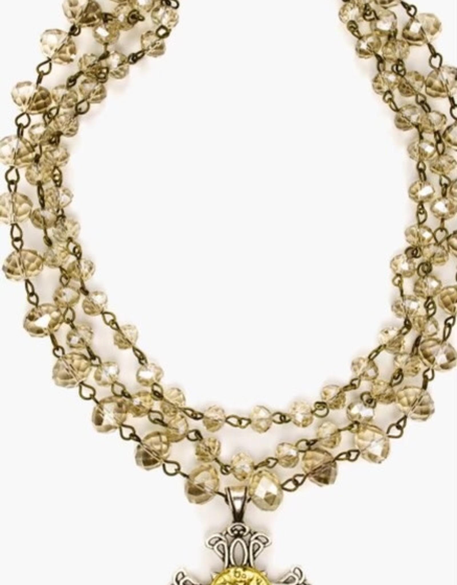 Julio Designs Julio-Apricot cross triple layered necklace