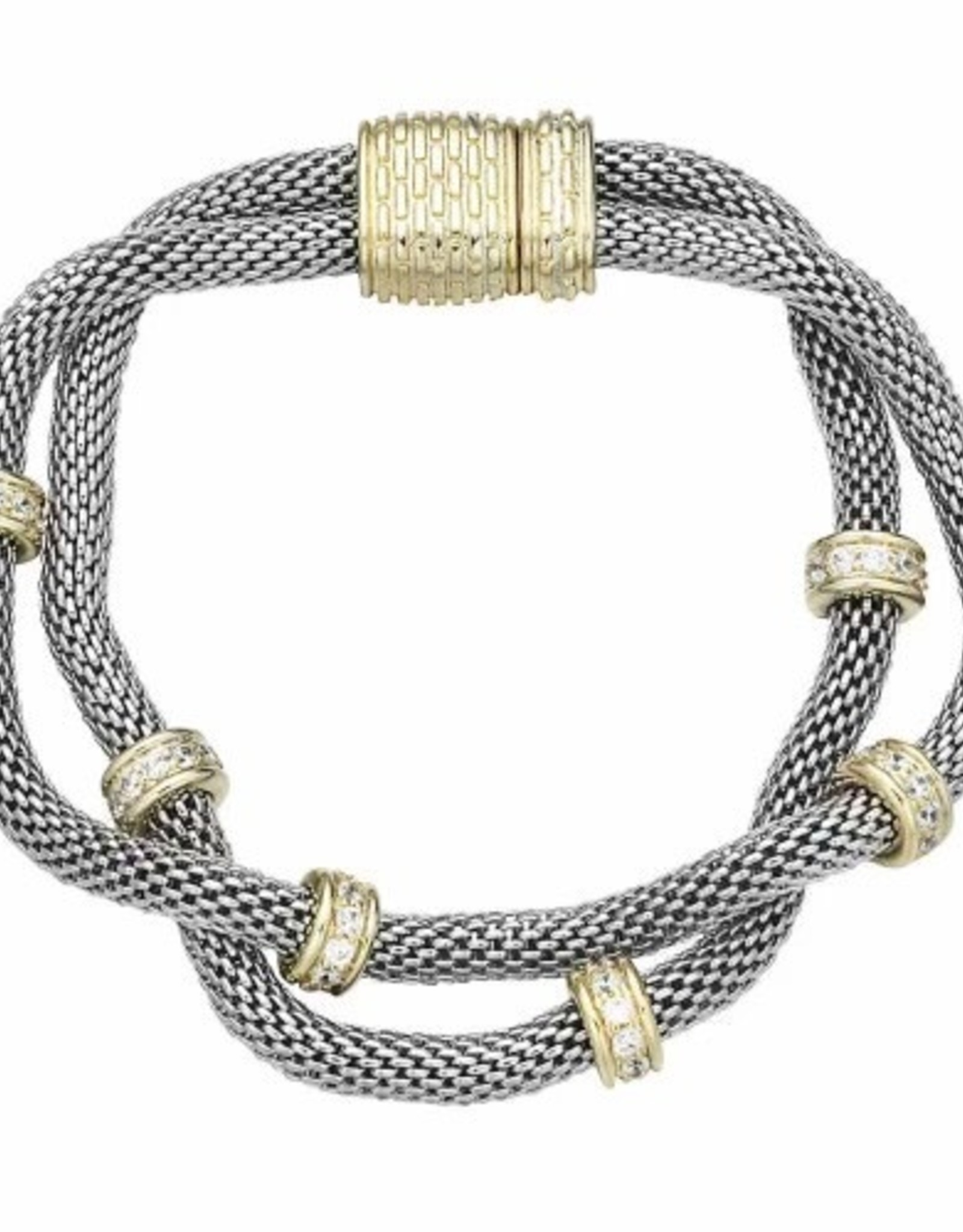 Magnetic Closure Silver and Gold Bracelet