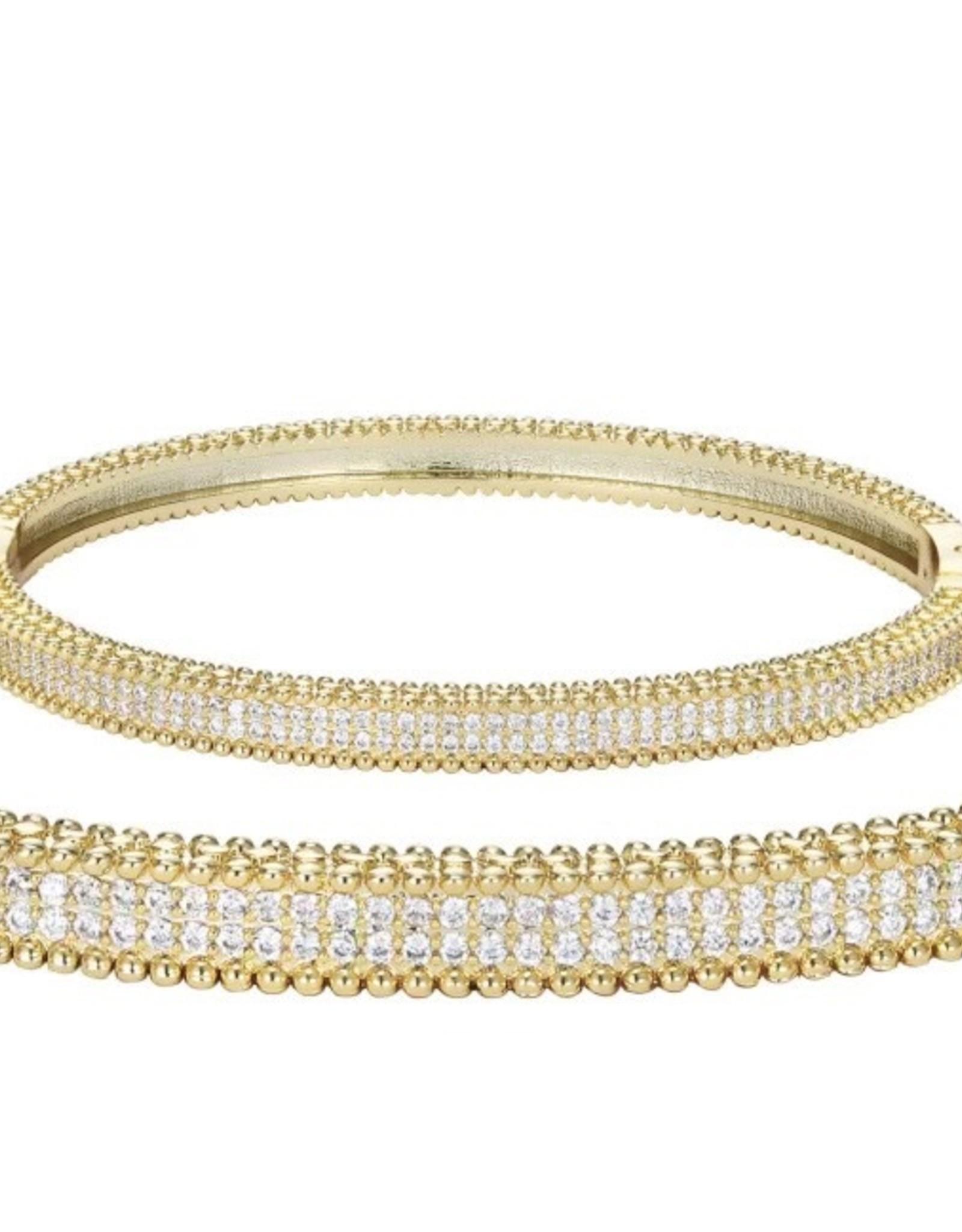 Gold Pave Set Clasp closure Bangle Bracelet