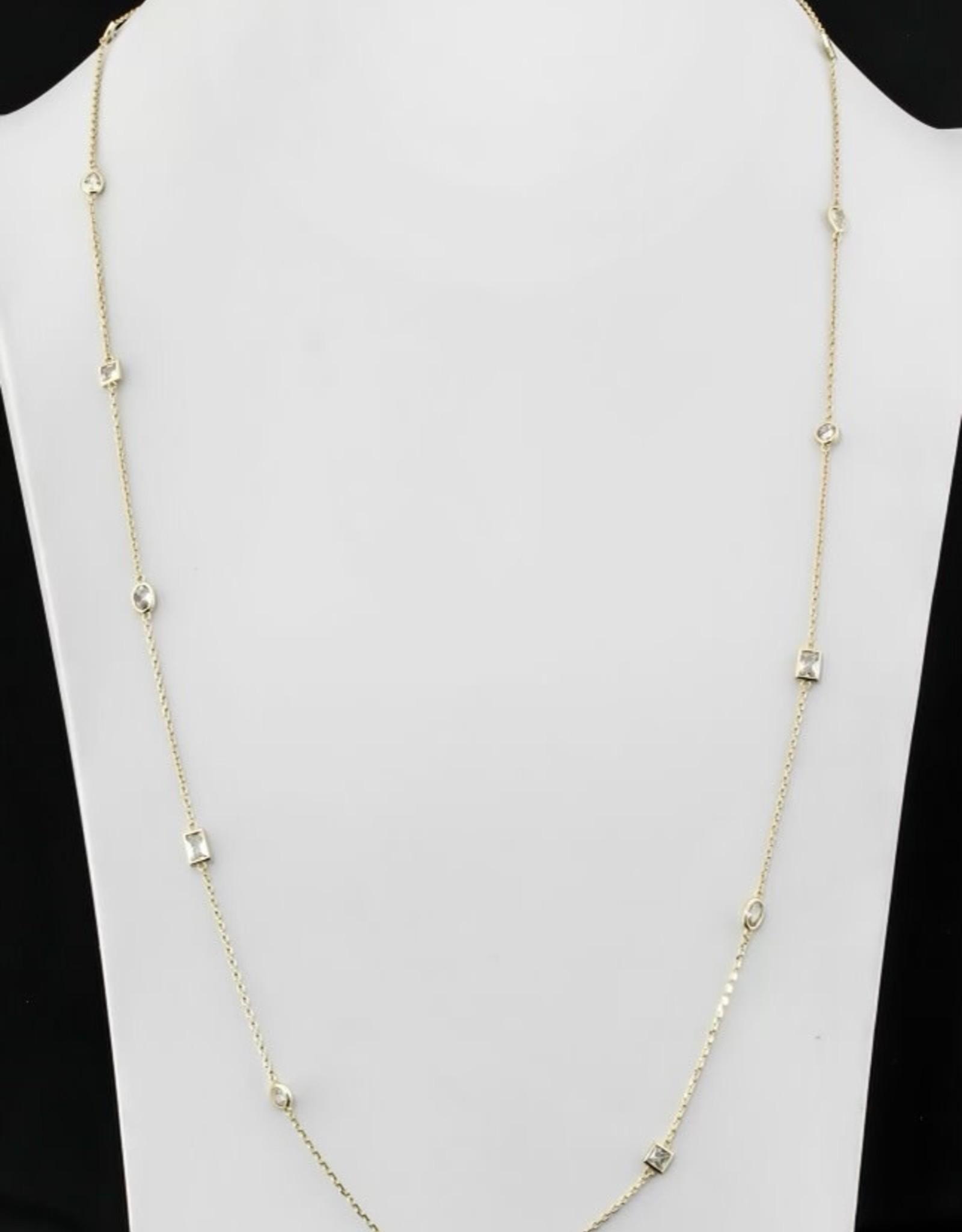 36 inch Long Necklace w/CZ's