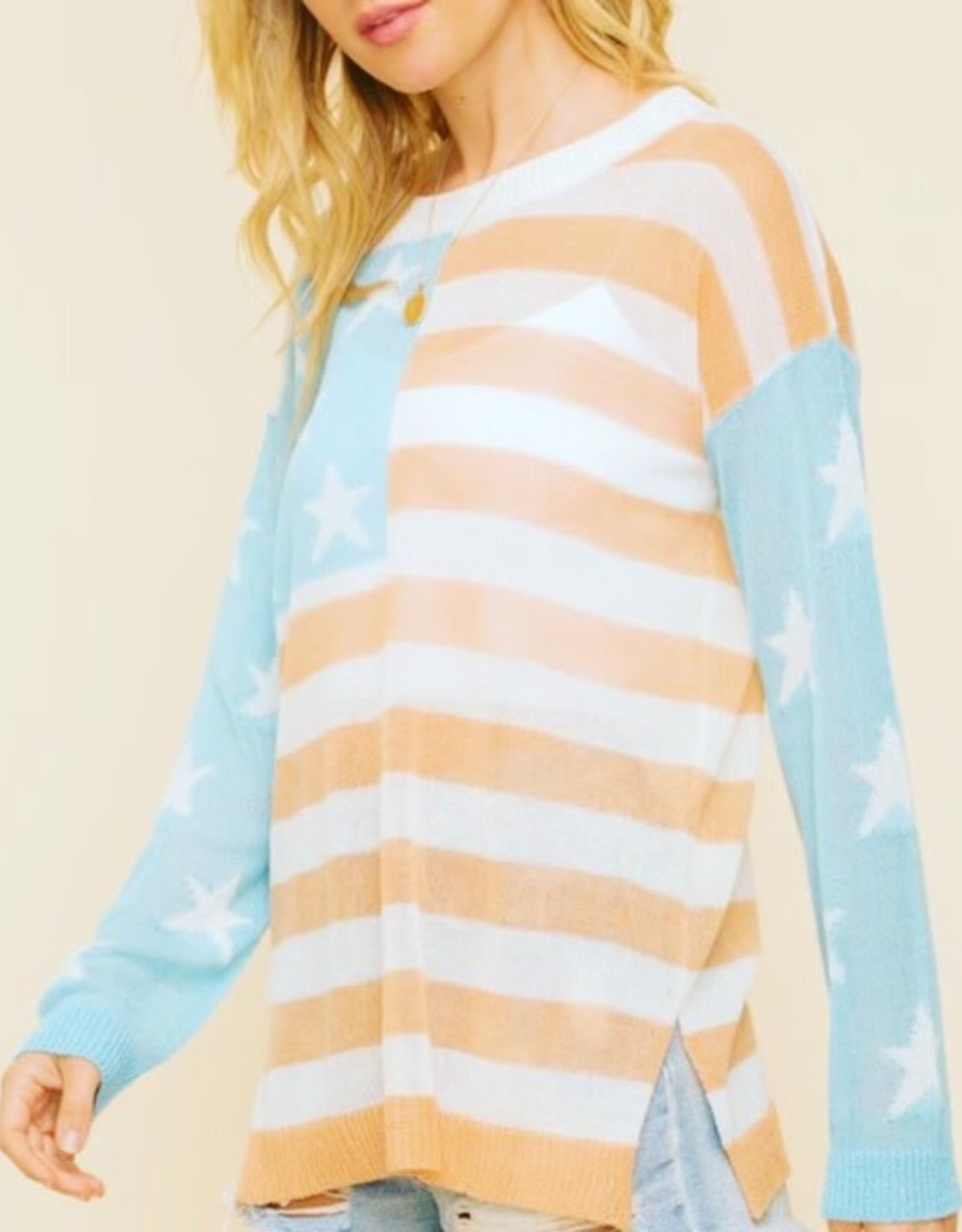 American Flag Lightweight Top/Sweater