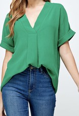 Best & Best Rolled Sleeve V-Neck w/pleat detail